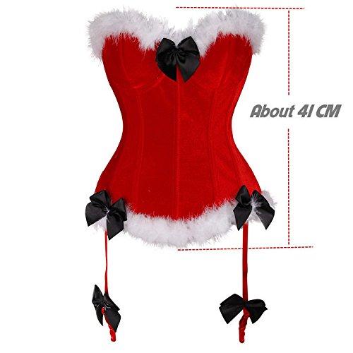 MISS MOLY Weihnachtskostüm|Damen Korsage Korsett Kleid Dress Die Festliche Stimmung Anfüllen Vier Muster Korsage2