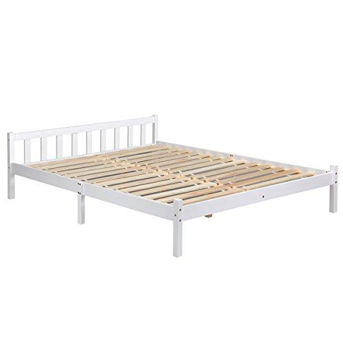 homycasa Doppelbett Rahmen, Kiefer Holz Bett, Bett, Matratze Größe 140cm von 190cm Verwenden können.