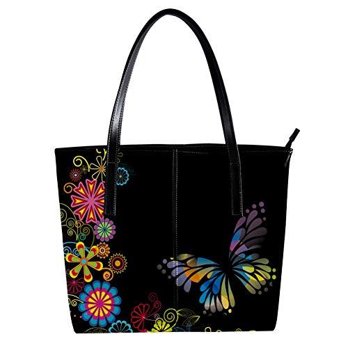Women's Bag Shoulder Tote handbag with Butterflies And Flowers Print Zipper Purse PU Leather Top-handle Zip Bags -