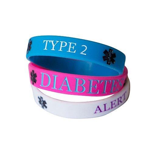 Hairyworm - Typ 2 Diabetes Kindergröße Silikon Armband Kombipack (3er Pack Armbänder) Diabetes-band