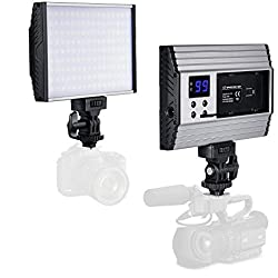 Zecti Torche led video en Aluminium, Led Vidéo Caméra Portable, 144 Réglable LEDs 1500LM écran LCD pour appareils photo reflex numériques Canon, Nikon, Pentax, Panasonic,SONY