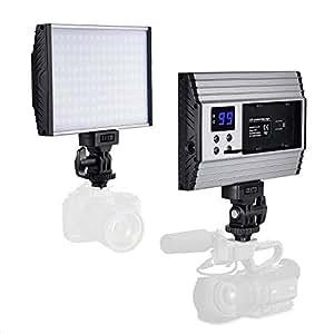 Zecti LED Videoleuchte 144LEDs Dimmbare Videolicht mit Hot Shoe 15W DSLR Licht mit LCD Display Aluminiumgehäuse, für Camcorder, Canon Sony Nikon Pentax Panasonic Samsung und Digital SLR Kameras