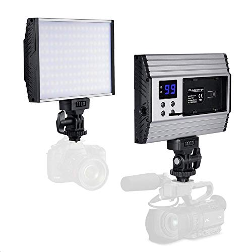 te 144 LEDs Dimmbare Videolicht mit Hot Shoe Plug 15W DSLR Licht mit LCD Display Aluminiumgehäuse, für Camcorder, Canon Sony Nikon Pentax Panasonic Samsung und Digital SLR Kameras ()