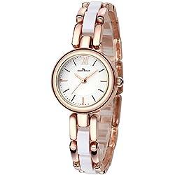 Fashion Bracelet Ceramic Strap Quartz Women Girl Wrist Watch,Gold-White