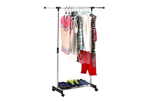 Stabiler Kleiderständer rollbar Garderobenständer Kleiderstange ausziehbar