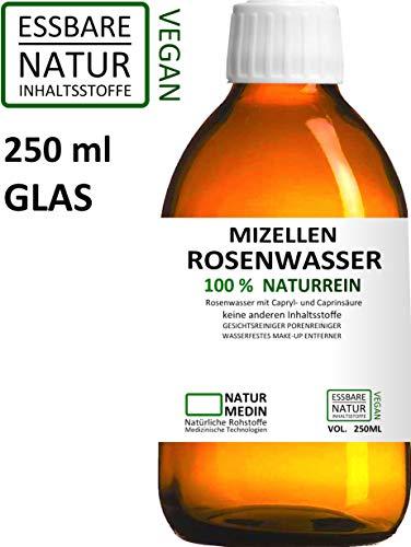 MIZELLEN ROSENWASSER 250-ml, Mizellenwasser, Gesichtswasser, 100% naturrein, nur 2 essbare Inhalsstoffe ohne Zusatzstoffe, wasserfestes Augen Make-up Entferner, Glasflasche, nachhaltig -