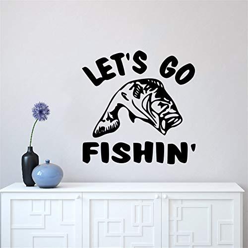 Cchpfcc Let'S Go Angeln Zitat Wandaufkleber Die-Cut Wall Decal Angeln Wand Kunst Wandbild Home Decor Fisch Liebhaber Geschenk Vinyl Wallpaper