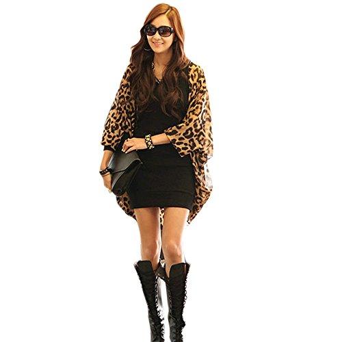 Chiffon Mantel,Sondereu Damen Leopard Batwing Ärmel Lässig Lose Chiffon-Oberteil Cover Up Cardigan Bluse Shirts L (Chiffon Bluse Leopard)
