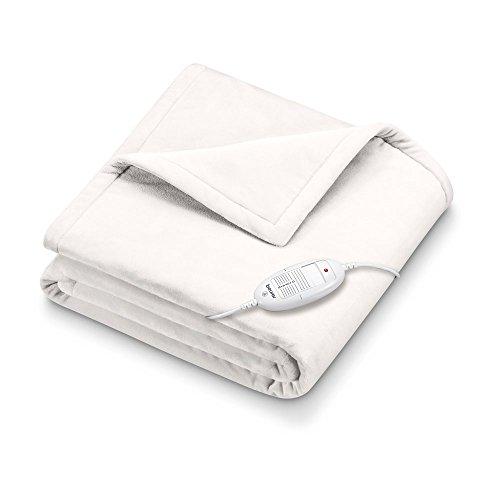Beurer HD 75 Wärmezudecke, Kuscheldecke aus Flauschmaterial, 6 Temperaturstufen, maschinenwaschbar, weiß