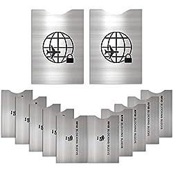 [Lot de 12] Protecteur de Carte de Crédit Anti-RFID Anti FRAUDE Kit Carte Carte de crédit Protection de la sécurité Paiement -Acier Inoxydable Protection Anti RFID
