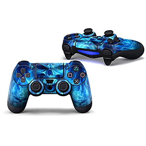 Morbuy PS4 Vinyle Skin autocollant Sticker Decal de Protection pour Sony Playstation 4 PS4 Slim PS4 Pro Dualshock Manette x 1 (Skull Fire Blue)