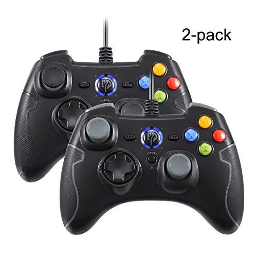 EasySMX 2 Stück Gamepads, Wired Gamecontroller Joysticks Dual Shock für Windows/Android