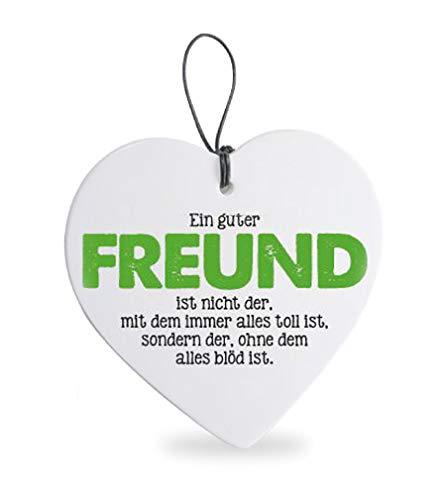 Deko Anhänger Herz Herzchen 15 cm aus Keramik weiß, Kachel Fliese mit Spruch Romantik Weißheit Liebe Glück, Herzanhänger Wandschild ein guter Freund -
