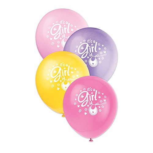 12-latex-pink-clothesline-baby-shower-balloons-pack-of-12