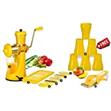 Magikware Manual Fruit Vegetable Hand Juicer, Slicer, 6 Plastic Glasses & Multi Cutter With Peeler Super Kitchen Combo Set (Yellow, Set Of 15)