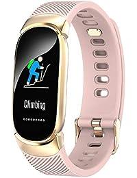 Hukz QW16 Smart Watch Sport Fitness Aktivität Herzfrequenz Tracker Blutdruck Uhr,Smart Uhrenarmband (Rose Gold)