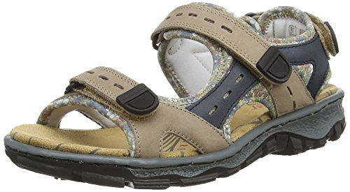 Rieker 68872 Women Open Toe, Damen Sandalen, Braun (bisonte/royal/kornblume/25), 38 EU