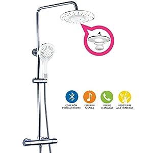 Columna ducha extensible con grifo termostático, maneral de ducha hidromasaje y rociador BLUETOOTH