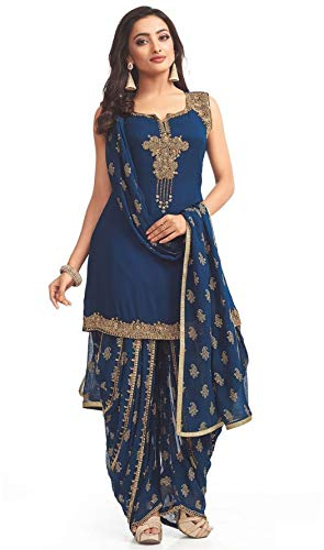 Shivam Embroidery Women\'s Blue Georgette Patiala Salwar Suit Sets(PT01_Blue_Free Size)