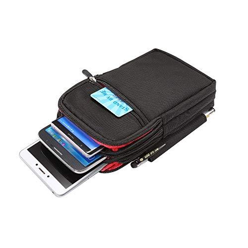 DFV mobile - Etui Schutzhülle Vielgebrauch mit Fächer, Reißverschluss, Schlaufe für Gürtel für=> ZTE Nubia X8 > XXL Schwarz (19 x 11.5 cm)