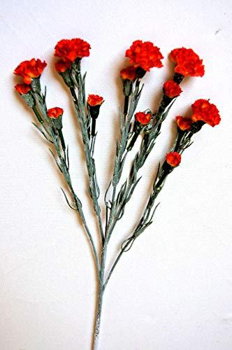 5 x Nelken Zweige Blüten Nelke Kunstblumen Strauß Kunstblume Tischdeko Deko L178