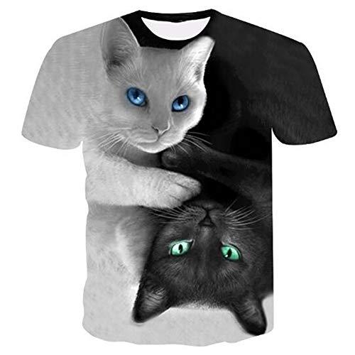 n Tank Top Fitness Ärmelloses Shirt Herren Bekleidung Sportswear Unterhemd Sommer,Bedruckte Schwarze und weiße Katzenasche 2XL ()