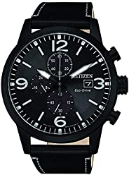 CITIZEN Mens Solar Powered Watch, Chronograph Display and Leather Strap - CA0617-29E