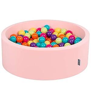 KiddyMoon - Baño para bebés, 90 x 30 cm, 200 Unidades, diámetro de 7 cm, con Bolas de Colores, Redondo,, Color Rosa, Verde Claro, Amarillo, Turquesa, Naranja, Rosa Oscuro, Violeta