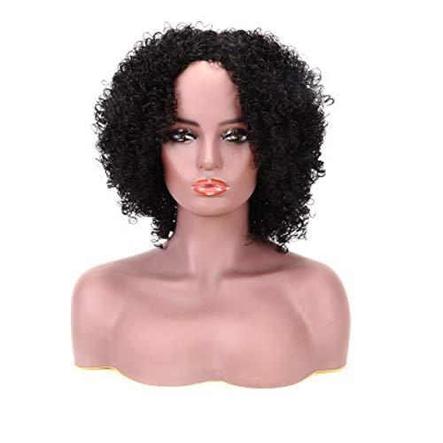 Perruque noire longue perruque de cheveux bouclés,Mode Cospaly,Perruque à la carte BOB Côté Partie en dentelle synthétique Robe quotidienne naturelle perruques für die Halloween-Party
