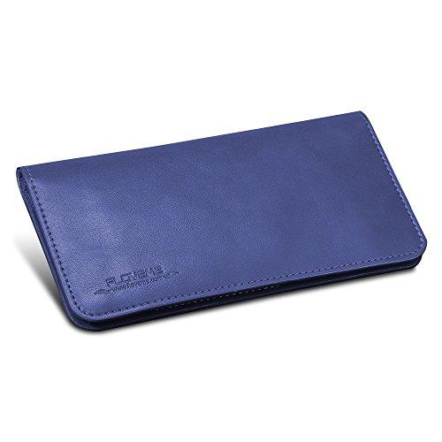 FLOVEME Universal Geldbörsen Brieftasche Handyhülle aus Echt Leder Premium Book Wallet 2 in 1 Schutzhülle Folio Cover mit Karte Slots 5.5 Zoll Blau