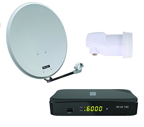 Opticum Digitale 1 Teilnehmer Satelliten-Komplettanlage HD AX 150 HDTV-Receiver (Opticum Single-LNB, Opticum QA 60 cm Antenne Lichtgrau Stahl)