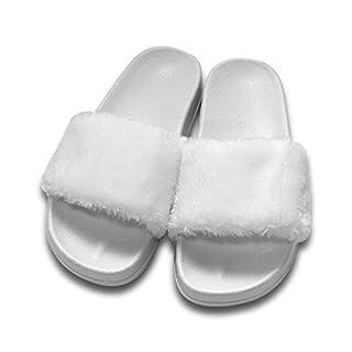 COFACE Damen Hausschuh Weiche Flache Sandalen Flauschige mit Süßer Plüsch Pantoffel Outdoor/Indoor in 5 Farben,White-36,Herstellergrösse 37