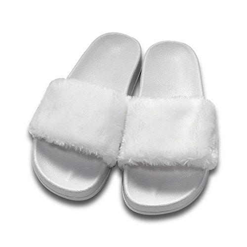 COFACE Damen Hausschuh Weiche Flache Sandalen Flauschige mit Süßer Plüsch Pantoffel Outdoor/Indoor in 5 Farben