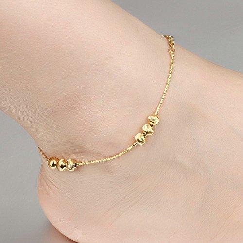 Onefeart Vergoldet Fußkette für Frauen Mädchen Glückliche Glocke Fuß Schmuck Sommer Strand Fußkette 29CM Gold