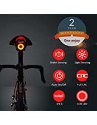 One enjoy Luz de Cola para Bicicleta Inteligente Ultra Brillante, luz de Bicicleta Recargable, Encendido/Apagado automático, Luces de Bicicleta LED Impermeables IPX6 (Black)