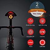 Nkomax Smart Bike Tail Light Ultra Bright, Bike Light Rechargeable Auto On/Off, IPX6