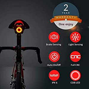 41ALPuWeuwL. SS300 1 one enjoy Luce Posteriore Smart Bike Ultra Bright, Luce accendisigari Ricaricabile per Moto, IPX6 Luci LED per…