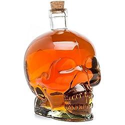 Cráneo de cristal botella, transparente para bebidas, capacidad 0,75l