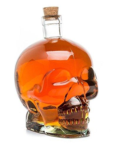 Crâne tête de mort cristal Bouteille, Carafe en Verre, Carafe, transparent pour et non alcoolisées boissons alcoolisées, contenance 0,75L