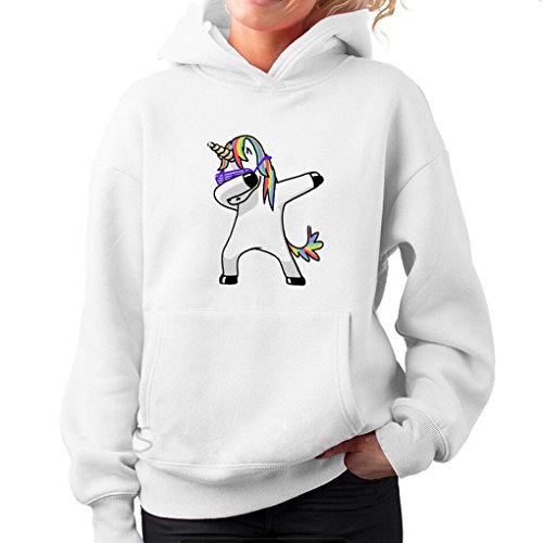 Mujer Sudadera Unicornio con Capucha y Bolsillo Canguro Manga Larga Otoño Invierno Hooded Sweatshirt Divertida Dab Estampado Animal Blusa Baggy Jumper Tops Camiseta Hip Pop Niña Pulover Streetwear