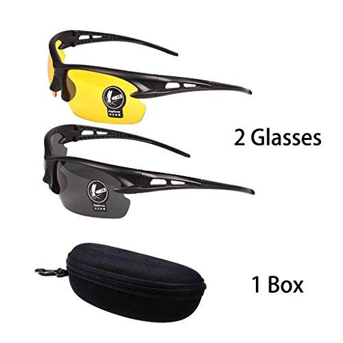 2 Paare Polarisierte und Nachtsicht Sonnenbrille Gläser UV400 Schutz Blendschutz für Herren Frauen Outdoor Schießen Skifahren Fahren Radfahren Angeln Laufen Reise-Gelbe Brille + Schwarz