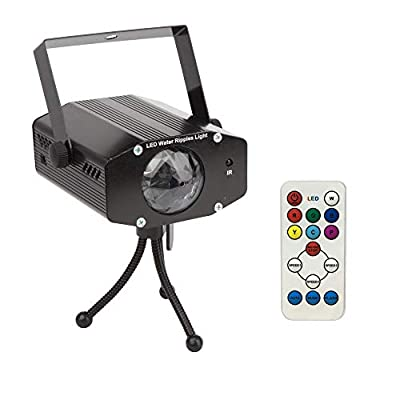 Disco Lights 7 Colors LED Water Ripples Effect Light Projector Stage Lights Party Lights Sound Activated with IR Remote Control Microphone for DJ KTV Disco Christmas Halloween Parties
