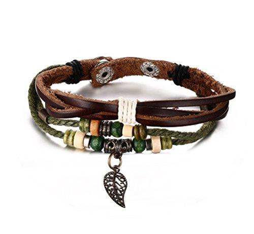 Geflochtenes Seil Damen Herren Holz Perle Bronze Legierung Schnalle Echt Leder Armband Armreif (Cartier Holz)