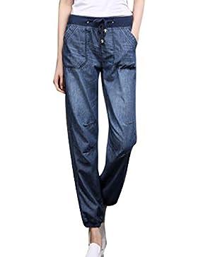 Juleya Jeans Mujer Pantalones de Mezclilla Sueltos Pantalones Harén Cómodos Suaves Pantalones Casuales Pantalones...