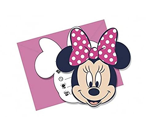 6 Disney's Minnie Mouse Pink Funky Dots Dance Party Invitations With Envelopes
