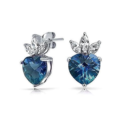 London Simulated Blue Topaz CZ Heart Crown Stud Earrings 925 Sterling Silver