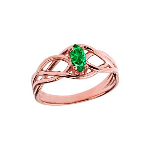 Kleine Schätze Damen Ring Keltische Knoten Smaragd Ring in 14 Karat Rotgold (Gold-emerald-cut-ringe Rose)