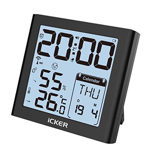 iCKER Funkwecker,Wecker Digital Funkuhr mit Temperaturanzeige, Hygrometer Thermometer, Große Zahlen, Komfortstufeanzeige, Batteriebetrieben, 80° LCD Anzeige, Schwarz