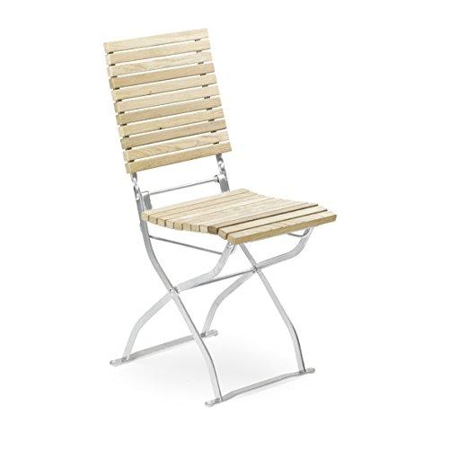 Gartenstuhl INTERVALL, klappbarer Biergartenstuhl, Eichenholz auf verzinktem Stahlgestell