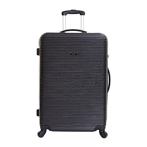 Karabar Grantham Valise Grande Taille - 76 cm, 100 liters, ABS XL Bagage en Soute Rigide Légere et Résistante à 4 Roulettes Avec Roues Pivotantes, Noir